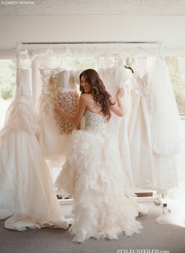 Elizabeth-Messina-bride-choosing-wedding-dress